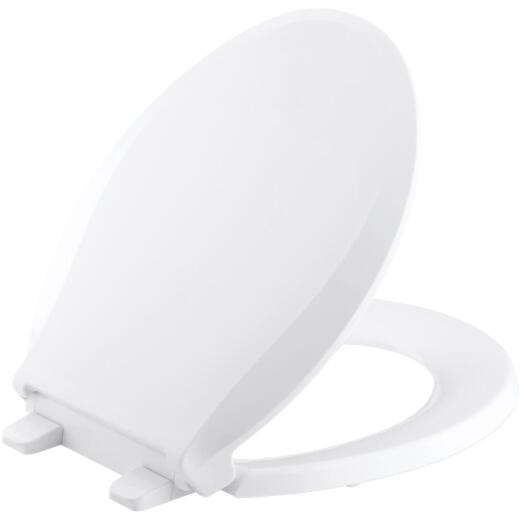 Kohler Cachet Quiet-Close Round Closed Front White Plastic Toilet Seat w/Grip-Tight Bumpers